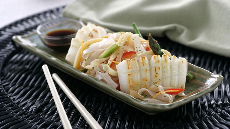 Tallarines de arroz con sepia