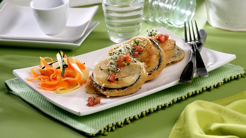 Berenjenas rebozadas con jamón y queso