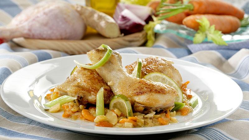 Muslos de pollo guisados