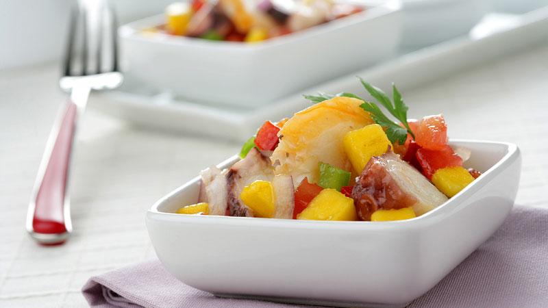 Salpicón de langosta, pulpo y mango