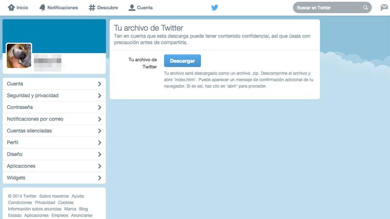 Cómo descargarte el historial de tus publicaciones en Twitter