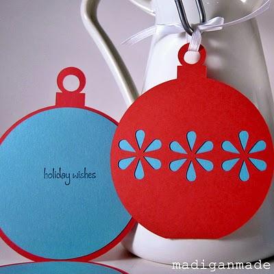 tarjeta de felicitacin con forma de bola de rbol sencillas y muy bonitas la idea es del blog y consiste en combinar colores y texturas