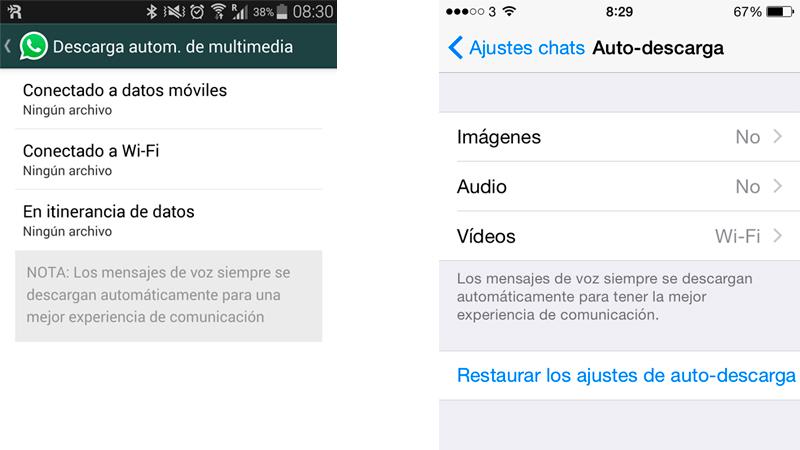 ¿Cómo configuro la descarga automática de contenido en WhatsApp?