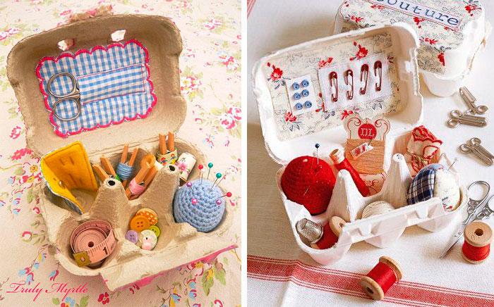 Cajas de costura con cartones de huevos