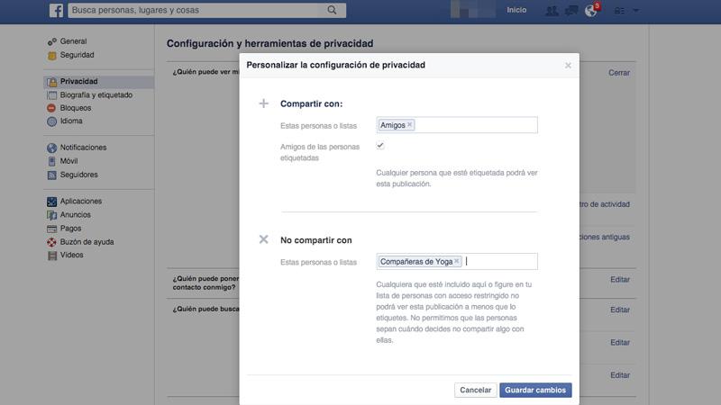 Crea listas de contactos en Facebook para controlar quien ve tus publicaciones