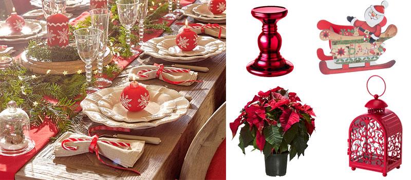 Decoración navideña clásica en rojo