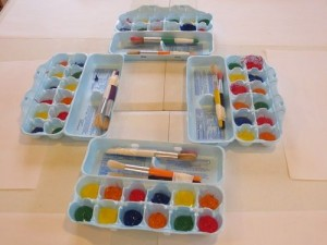 Paleta de pintura caja de huevos