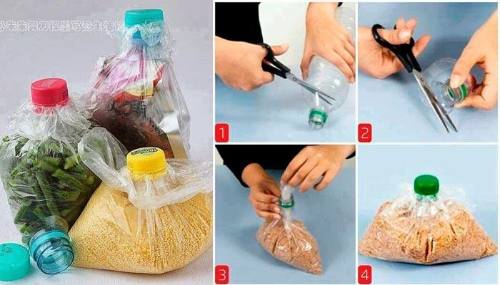 Cerrar bolsas con tapones de botellas