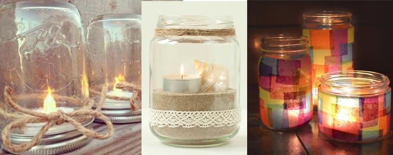 Ideas para reciclar tarros de cristal en casa flota - Portavelas cristal ...