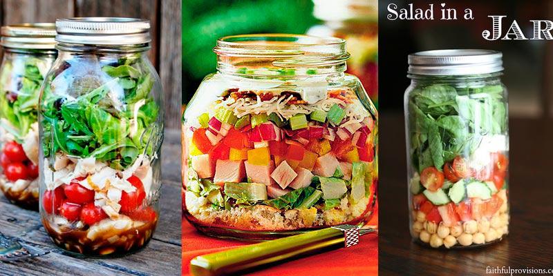 Tarros de cristal para ensaladas