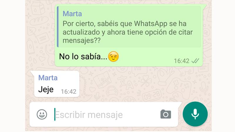 Cómo usar la función de 'citar mensajes' de WhatsApp en Android