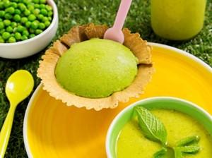 Gazpacho de guisantes y helado a la menta