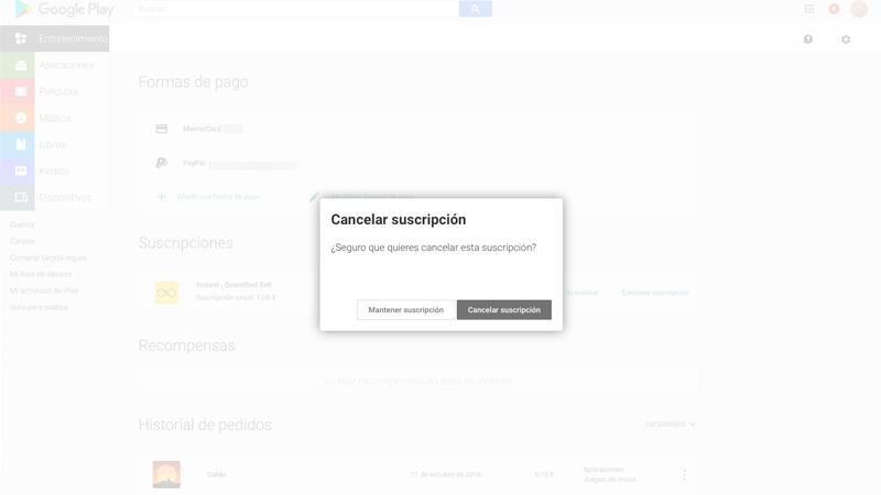 Cómo cancelar una suscripción en Google Play