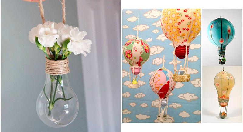 decoracion con bombillas recicladas