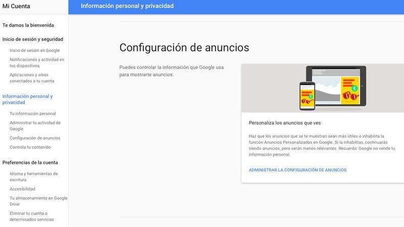 Cómo desactivar los anuncios personalizados que muestra Google